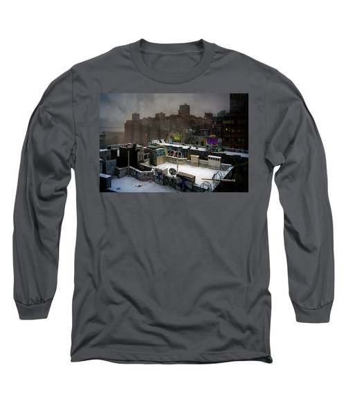 Long Sleeve T-Shirt featuring the photograph Chinatown Rooftops In Winter by Chris Lord