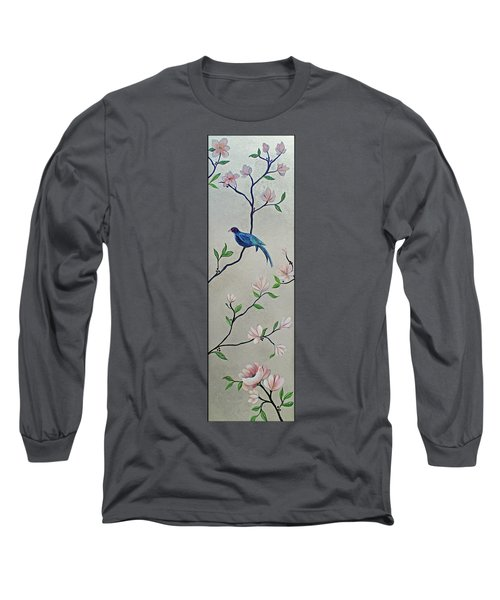 Chinoiserie - Magnolias And Birds #4 Long Sleeve T-Shirt