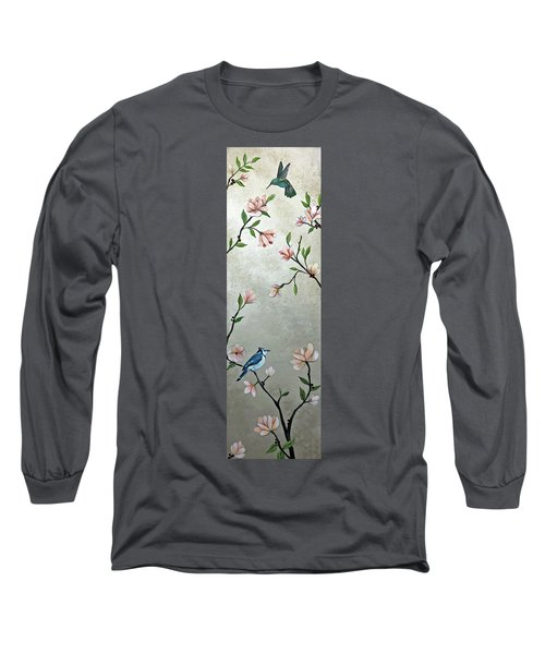 Chinoiserie - Magnolias And Birds Long Sleeve T-Shirt