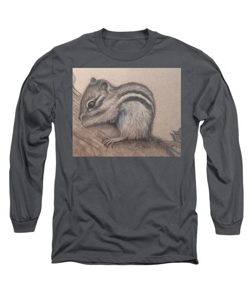 Long Sleeve T-Shirt featuring the drawing Chipmunk, Tn Wildlife Series by Annamarie Sidella-Felts