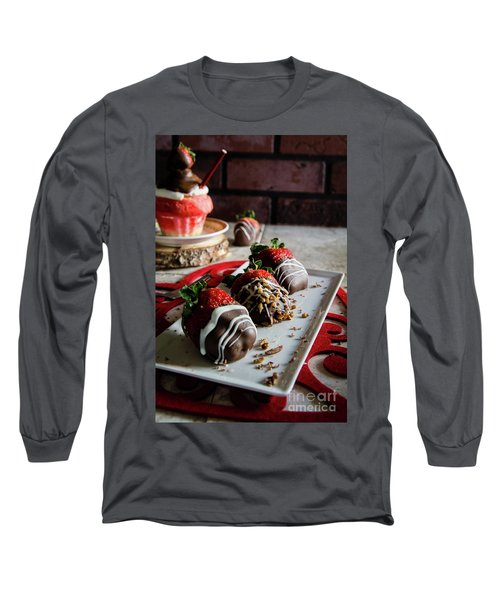Chocolate Covered Strawberries Long Sleeve T-Shirt by Deborah Klubertanz