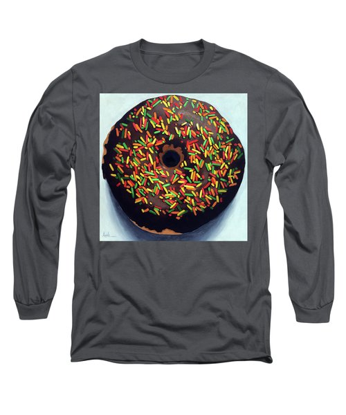 Long Sleeve T-Shirt featuring the painting Chocolate Donut And Sprinkles Large Painting by Linda Apple
