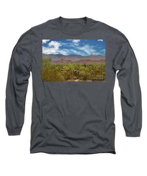 Long Sleeve T-Shirt featuring the photograph Cholla Saguaro And The Mountains by Anne Rodkin