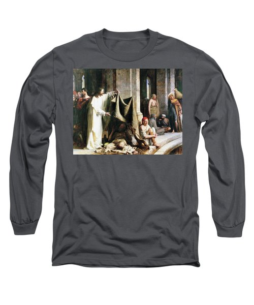 Christ Christ And The Man At The Healing Wel Long Sleeve T-Shirt by Carl Heinrich Bloch