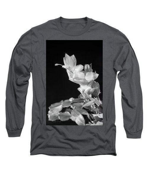 Christmas Cactus On Black Long Sleeve T-Shirt by Ed Cilley
