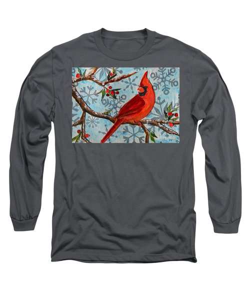Long Sleeve T-Shirt featuring the mixed media Christmas Cardinal by Li Newton