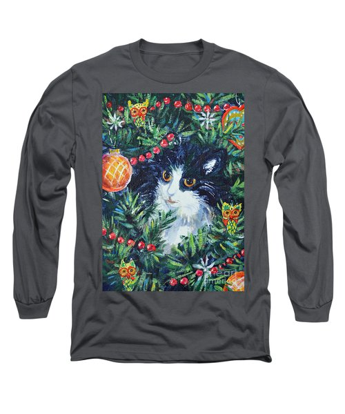 Long Sleeve T-Shirt featuring the painting Christmas Catouflage by Li Newton