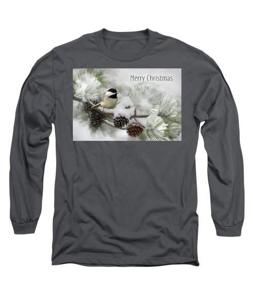 Long Sleeve T-Shirt featuring the photograph Christmas Chickadee by Lori Deiter