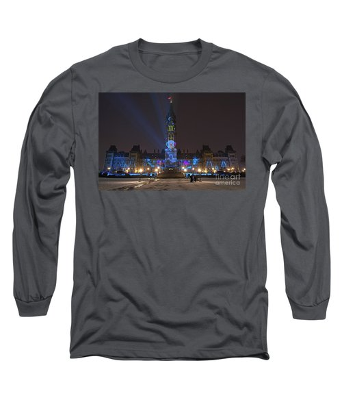 Long Sleeve T-Shirt featuring the photograph Christmas Lights Across Canada.. by Nina Stavlund