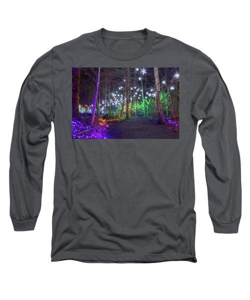 Christmas Lights Decoration Along Lafarge Lake Path Long Sleeve T-Shirt