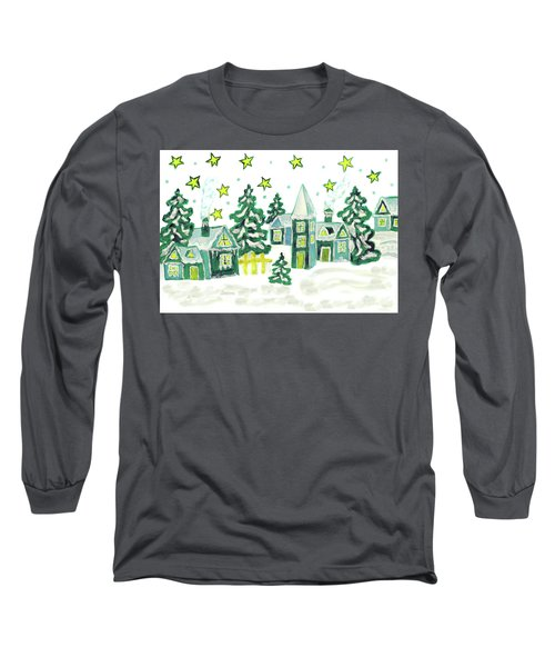 Christmas Picture In Green Long Sleeve T-Shirt by Irina Afonskaya