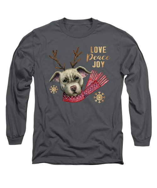 Christmas Reindeer Pit Bull With Faux Gold Snowflakes Long Sleeve T-Shirt