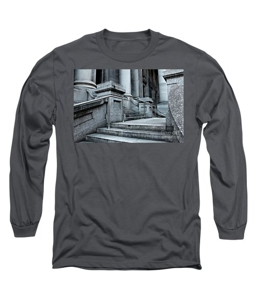 Long Sleeve T-Shirt featuring the photograph Chrome Balustrade by Stephen Mitchell