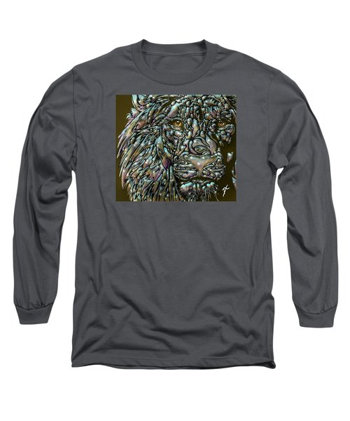 Chrome Lion Long Sleeve T-Shirt by Darren Cannell