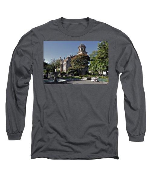 Long Sleeve T-Shirt featuring the photograph Church And Fountain Guadalajara by Jim Walls PhotoArtist