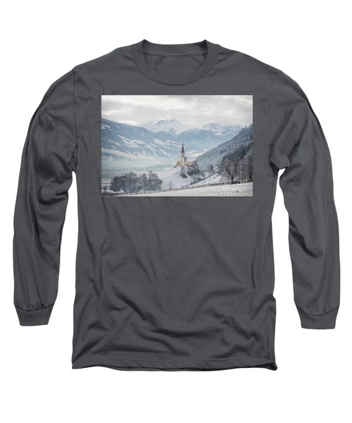 Church In Alpine Zillertal Valley In Winter Long Sleeve T-Shirt