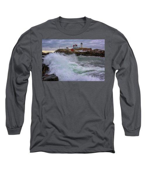 Long Sleeve T-Shirt featuring the photograph Churning Seas At Cape Neddick by Rick Berk