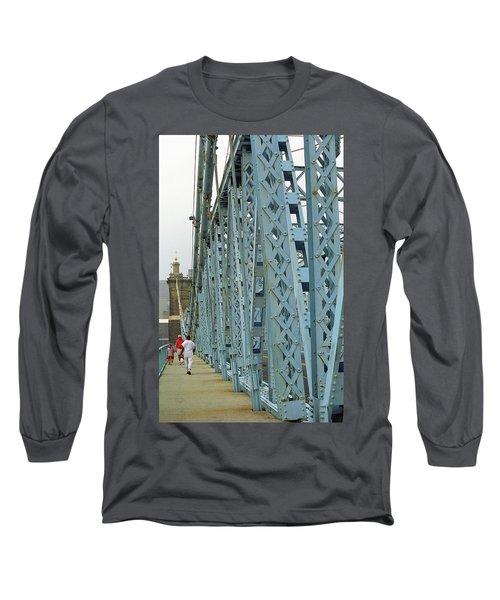 Cincinnati - Roebling Bridge 3 Long Sleeve T-Shirt by Frank Romeo