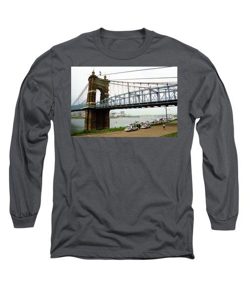 Cincinnati - Roebling Bridge 5 Long Sleeve T-Shirt by Frank Romeo