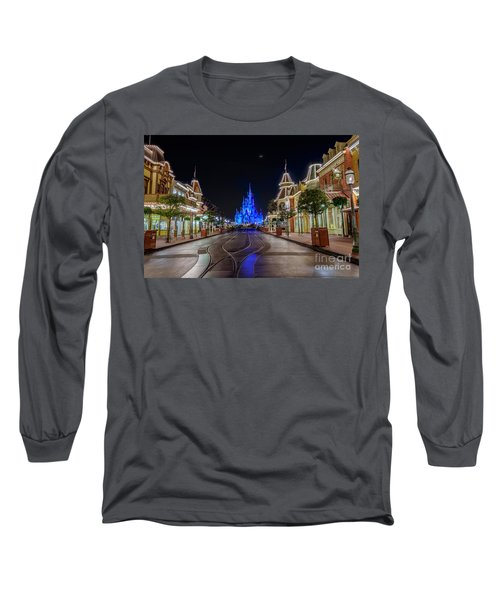 Cinderella Castle Glow Over Main Street Usa Long Sleeve T-Shirt