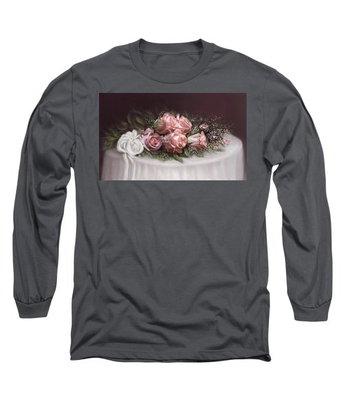 Long Sleeve T-Shirt featuring the painting Spray Of  Roses by Bonnie Willis
