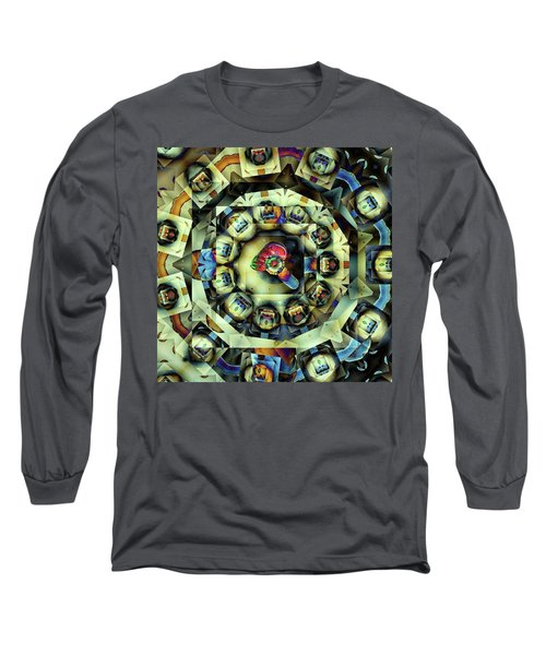 Long Sleeve T-Shirt featuring the digital art Circled Squares by Ron Bissett