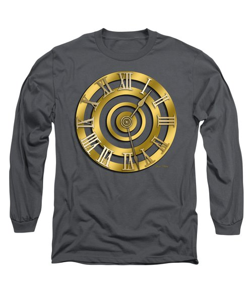 Circular Clock Design Long Sleeve T-Shirt by Chuck Staley