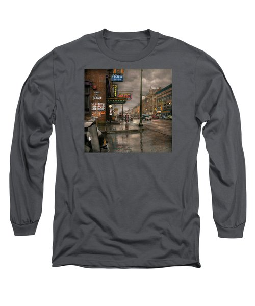 City - Amsterdam Ny -  Call 666 For Taxi 1941 Long Sleeve T-Shirt by Mike Savad