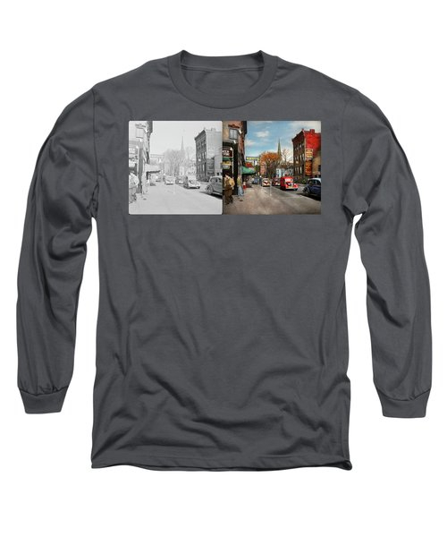 Long Sleeve T-Shirt featuring the photograph City - Amsterdam Ny - Downtown Amsterdam 1941- Side By Side by Mike Savad