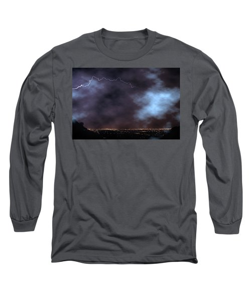 Long Sleeve T-Shirt featuring the photograph City Lights Night Strike by James BO Insogna