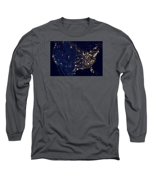 City Lights Of The United States Long Sleeve T-Shirt