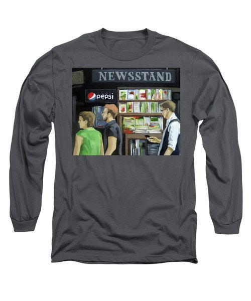 Long Sleeve T-Shirt featuring the painting City Newsstand - People On The Street Painting by Linda Apple
