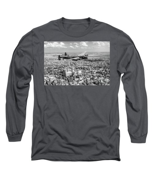 Long Sleeve T-Shirt featuring the photograph City Of Lincoln Vn-t Over The City Of Lincoln Bw Version by Gary Eason