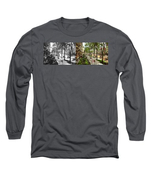Long Sleeve T-Shirt featuring the photograph City - Saratoga Ny -  I Would Love To Be On Broadway 1915 - Side By Side by Mike Savad