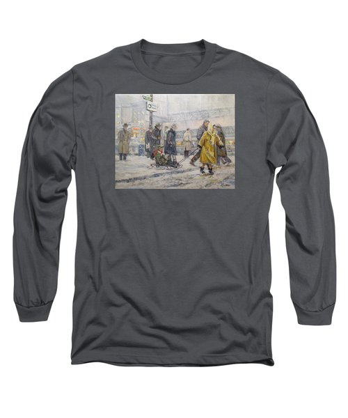 Long Sleeve T-Shirt featuring the painting City Snow Ride by Donna Tucker