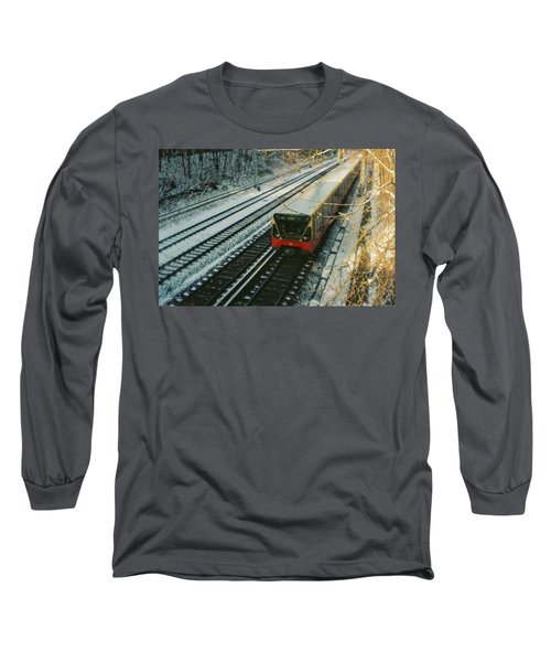 City Train In Berlin Under The Snow Long Sleeve T-Shirt