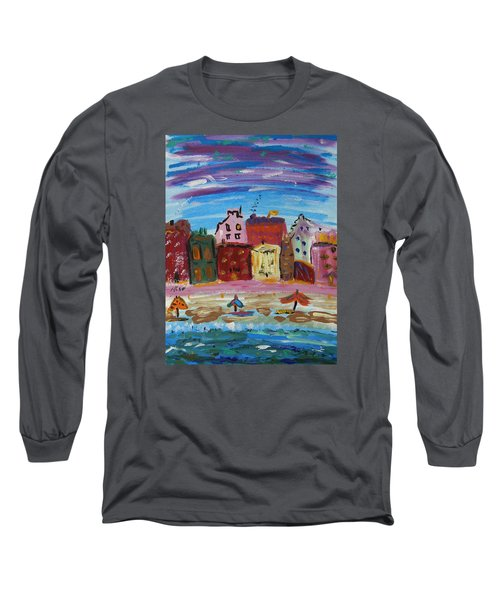 City With A Pink Boardwalk Long Sleeve T-Shirt by Mary Carol Williams