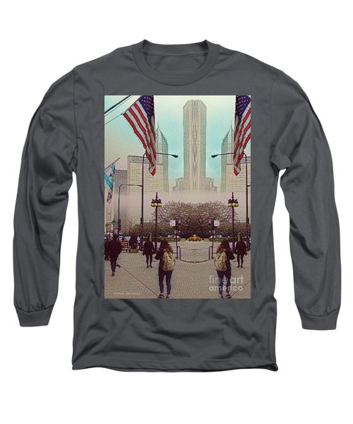 Cityscape With A Bit Of Fog Long Sleeve T-Shirt by Kathie Chicoine