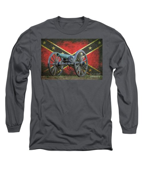 Civil War Cannon Rebel Flag Long Sleeve T-Shirt