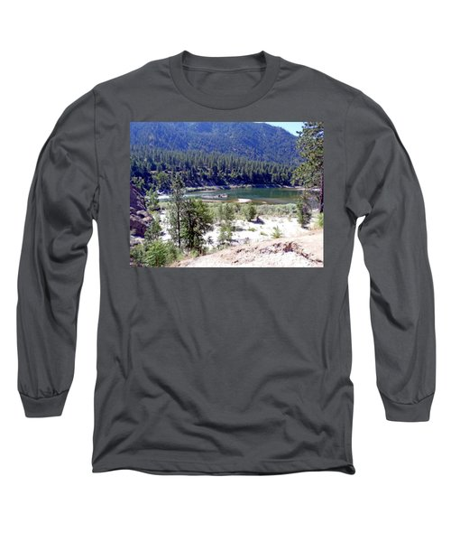 Clark Fork River Missoula Montana Long Sleeve T-Shirt by Kay Novy