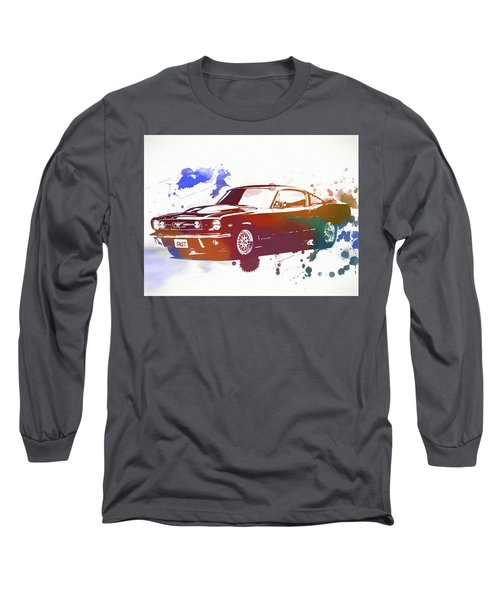 Classic Ford Mustang Watercolor Splash Long Sleeve T-Shirt by Dan Sproul