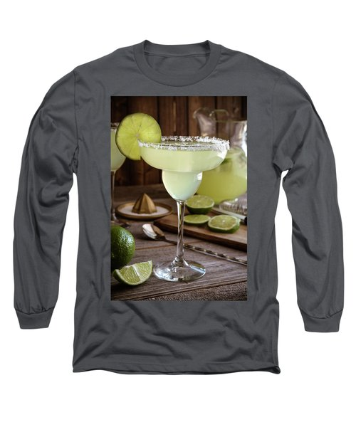 Long Sleeve T-Shirt featuring the photograph Classic Lime Margaritas On The Rocks by Teri Virbickis