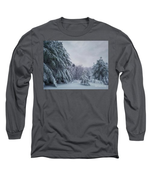 Classic Winter Scene In New England  Long Sleeve T-Shirt