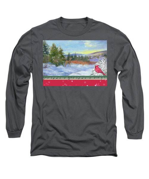 Long Sleeve T-Shirt featuring the painting Classic Winterscape With Cardinal And Reindeer by Judith Cheng