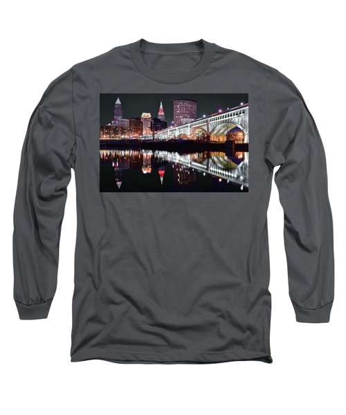 Long Sleeve T-Shirt featuring the photograph Cle In Selective Color by Frozen in Time Fine Art Photography