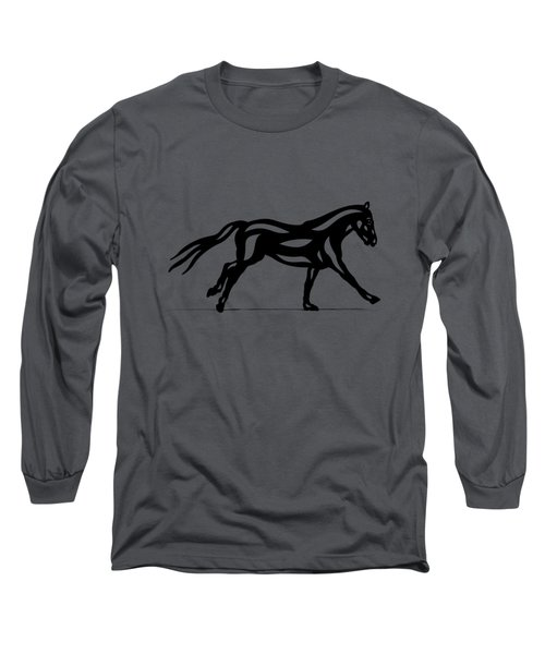 Long Sleeve T-Shirt featuring the painting Clementine - Abstract Horse by Manuel Sueess