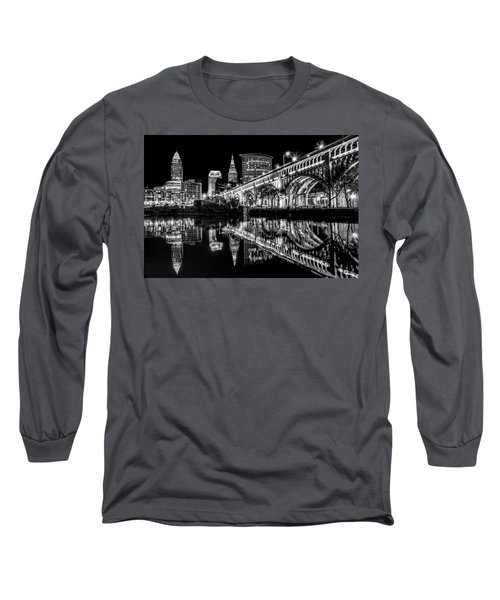 Long Sleeve T-Shirt featuring the photograph Cleveland After Dark by Brent Durken