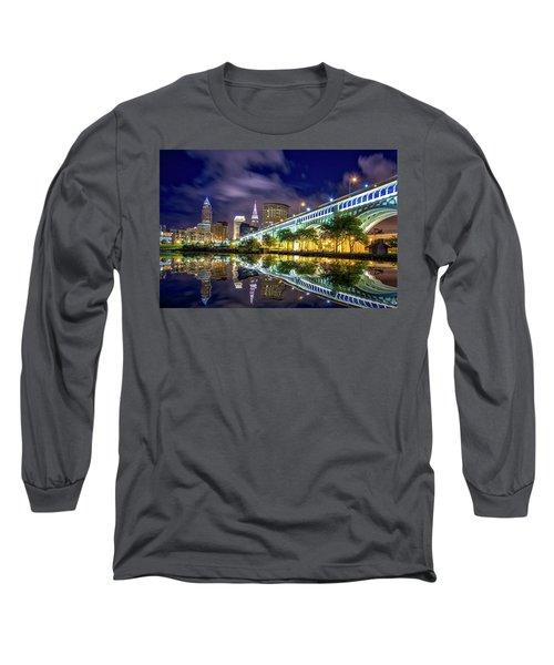 Long Sleeve T-Shirt featuring the photograph Cleveland Skyline 4 by Emmanuel Panagiotakis