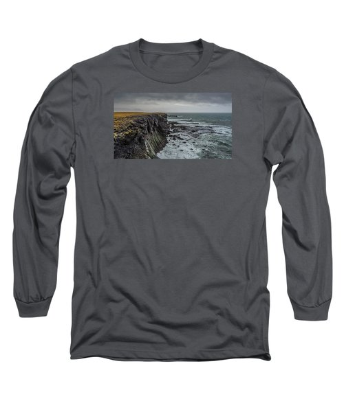 Long Sleeve T-Shirt featuring the photograph Cliffs At Arnarstapi by James Billings