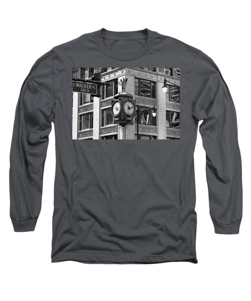 Clock On Jewelers Building - Chicago Long Sleeve T-Shirt